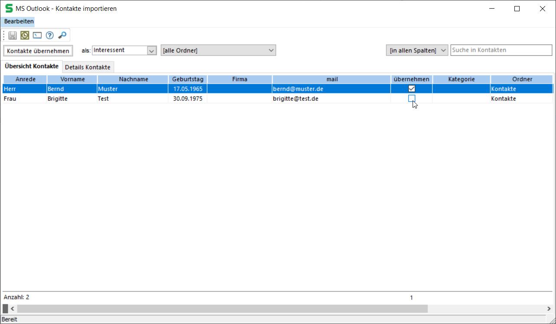 Outlook Kontakte Import in SALIA